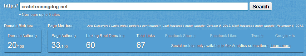 Moz Domain Results