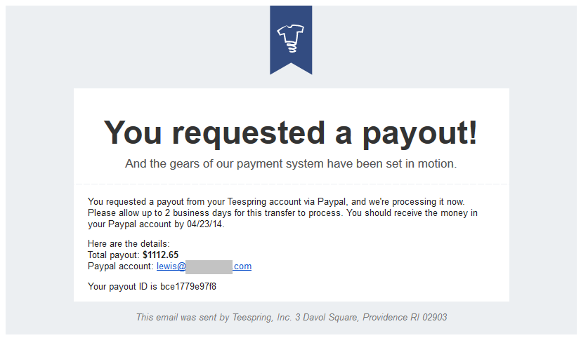 TeeSpring Payout Request Email